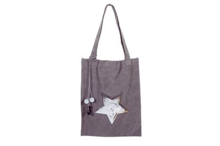 grijze canvas shopper met ster van pailetten