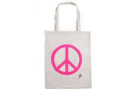 katoenen shopper met peace teken