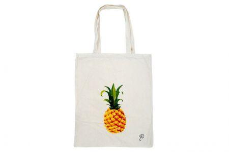 katoenen shopper met ananas print
