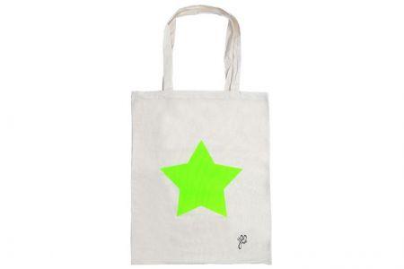 canvas shopper neon groene ster