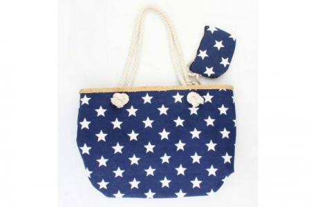 blauwe strandtas met witte sterren