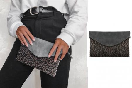 enveloptasje leopard grijs