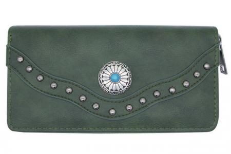 groene portemonnee met etnic details