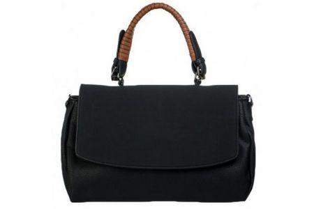 Zwarte handtas met suede look flap en cognac handvat | Weekdeal