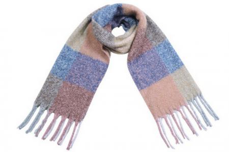 Sjaal Soft Blocks & Fringe Blauw