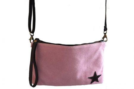 Borse in pelle oud roze clutch met ster