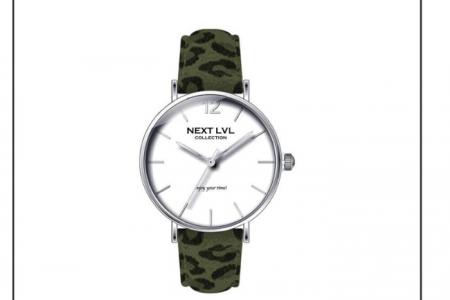 next lvl horloge met groen panterprint