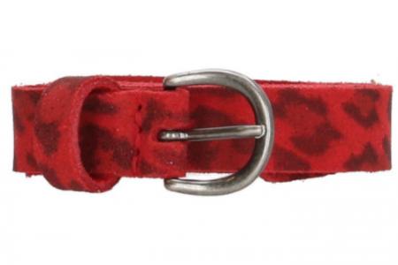 rode leren riem leopardprint