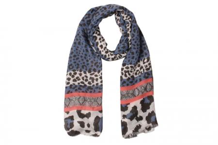 Leopard Snake Border Sjaal Blauw
