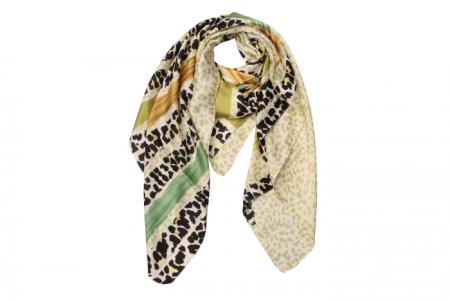 Zijdezacht Sjaaltje Stripe Leopard Groen