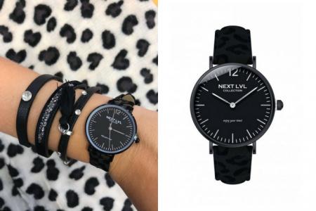 zwart horloge met panterprint