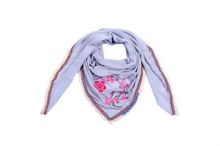 Sjaal bloemenprint Grijs