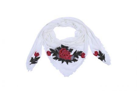 Sjaal met rozen print Wit