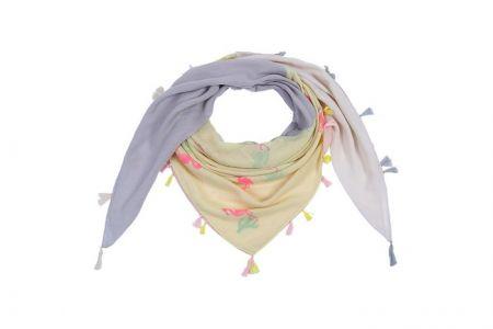 Sjaal met kwastjes Cactus & Flamingo geel