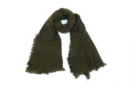 Uni Sjaal met ravelrand Groen