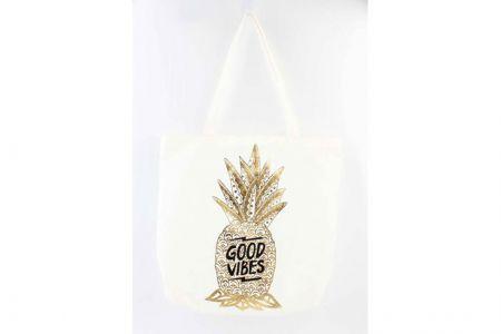 shopper met goudkleurige ananas print