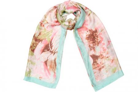 Satin Flower Sjaal Mint