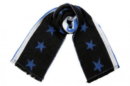 zwarte sjaal met blauwe sterren