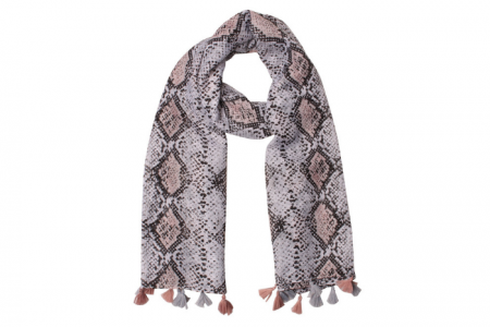 grijze sjaal met slangenprint en kwastjes