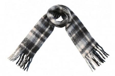 zwart witte soft fringe sjaal
