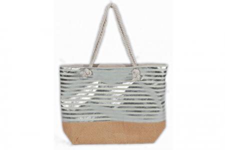 Strandtas Stripe Metallic Silver