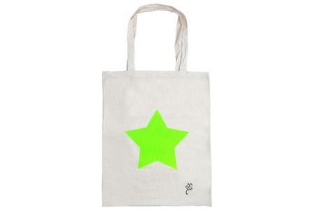 Canvas Shopper ster Neon Groen