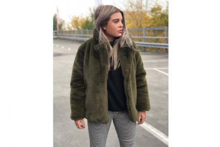 Next LvL Faux Fur Jas Legergroen | Koopjeshoek