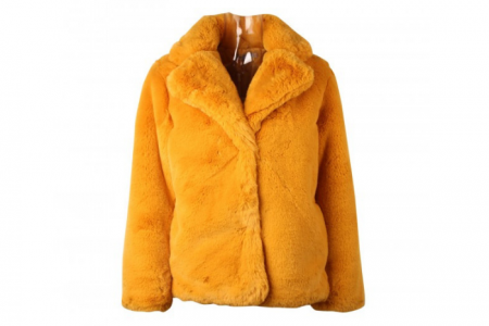 Next LvL Faux Fur Jas Short Yellow  S/M