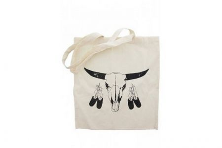 Canvas Shopper Buffalo en veren Zwart