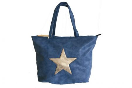 denim blue Ibiza star shopper met metallic ster