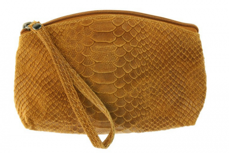make-up tasje snakeprint camel